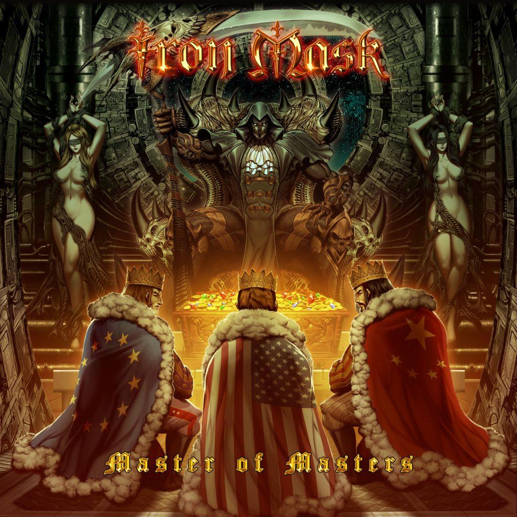 """Auf dem Albumcover """"Master Of Masters"""" von Iron Mask sind im Vordergrund drei Menschen mit Kronen und den Flaggen von der EU, den USA und Chin zu sehen."""