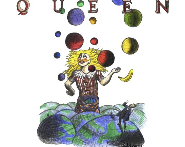 """Das Albumcover """"Innuendo"""" von Queen ist ein weißes Bild, auf dem ein Mensch gezeichnet ist. Er steht zwischen ganz vielen Erden und jongliert mehrere Bälle und eine Banane."""