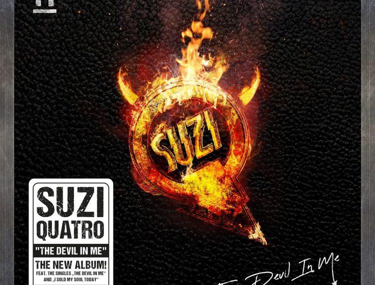"""Auf dem Albumcover """"The Devil In Me"""" von Suzi Quatro sieht man einen brennenden Ring, in dessen Mitte """"Suzi"""" steht. Der Hintergrund ist schwarz und anz unten steht """"The Devil In Me""""."""
