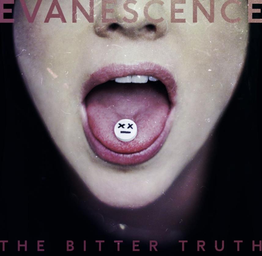 """Auf dem Albumcover """"The Bitter Truth"""" von Evanescence sieht man einen aufgerissenen Mund. Auf der Zunge liegt eine Pille mit einem Gesicht drauf."""