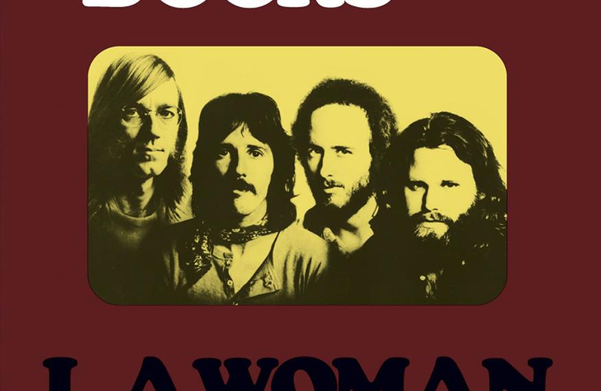 """Auf dem braunen Albumcover """"L.A. Woman"""" von The Doors ist in der Mitte ein gelbes Porträt der Band zu sehen."""
