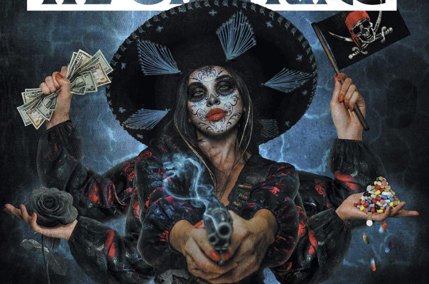 """Das Albumcover """"Let The Bad Times Roll"""" von The Offspring zeigt eine Frau mit Hut, Tattoos im Gesicht und sie hat sechs Arme. Sie hat Geldscheine, eine Piratenflagge, Pillen, eine schwarze Rose und eine Pistole in den Händen. Der Hintergrund ist düster."""
