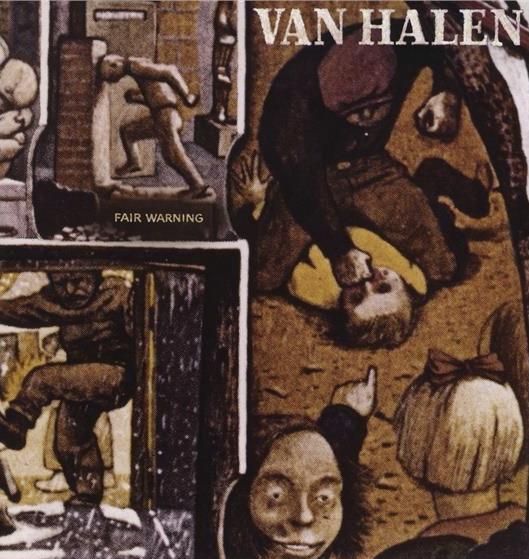 """Auf dem Albumcover """"Fair Warning"""" von Van Halen sind verschiedene in Brauntönen gemalte Menschen zu sehen."""