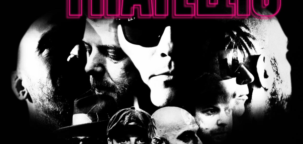 """Das Albumcover """"Half Drunk Under A Full Moon"""" von The Fratellis ist schwarz. In der Mitte sind schwarz-weiß Köpfe zu sehen. Darüber steht in neonpink """"The Fratellis"""", unter den Köpfen steht in grellem hellblau """"Half Drunk Under A Full Moon""""."""