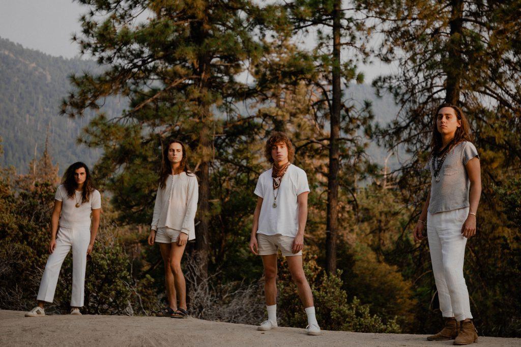 Auf dem Foto sind die Bandmitglieder von Greta van Fleet zu sehen.. Sie stehen vor ein paar Bäumen und Büschen.