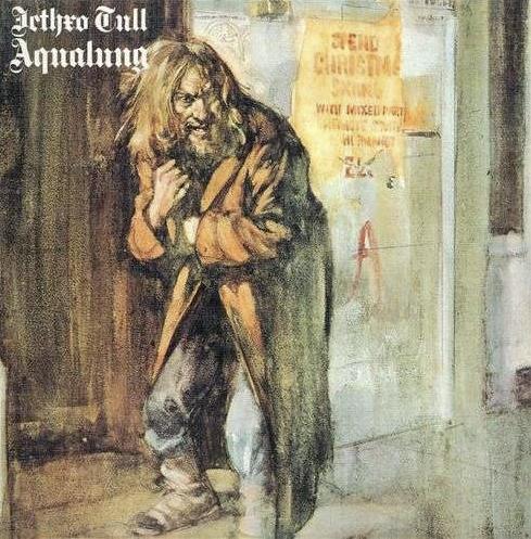 """Das Albumcover """"Aqualung"""" von Jethro Tull ist ein gemaltes Bild von einem Mann mit einem Mantel."""