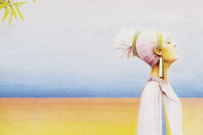 """Das Albumcover """"Level 42"""" von Level 42 ist ein gemaltes Bild. Im Vordergrund ist eine Frau mit Kopfschmuck zu sehen. Der Hintergrund ist unten gelb und oben blau."""