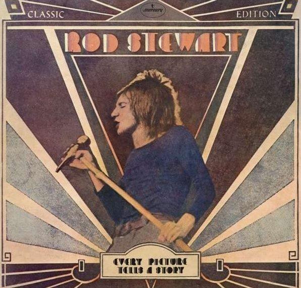 """Das Albumcover """"Every Picture Tells A Story"""" von Rod Stewart zeigt den Sänger, wie er in ein Mikrofon singt. Der Hintergrund ist in verschiedenen Braun- und Grautönen gehalten."""