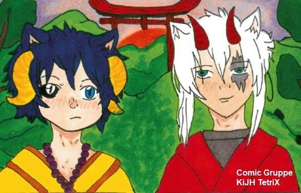 """Auf dem Foto sieht man zwei Figuren aus dem Comic """"Blue Eyes"""" von TetriX."""