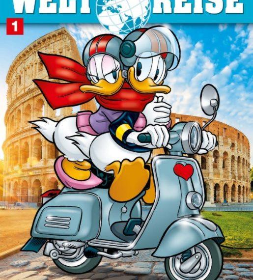 Auf dem Comic-Cover sieht man Donald und Daisy Duck, wie sie auf einem Roller am Kolosseum vorbeifahren.