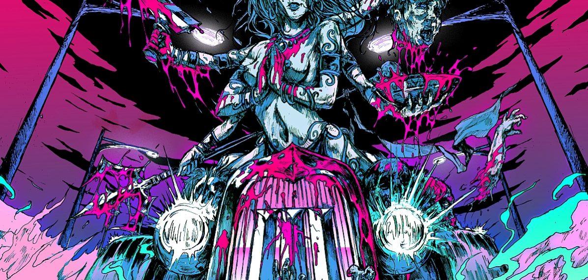 """Das Albumcover """"III"""" von Wildstreet ist illustriert und zeigt ein Gefährt, auf dem eine Frau sitzt. Sie hat mehrere Arme. Mit zwei ihrer vielen Hände hält ein Beil und einen Kopf in der Hand. Das Cover ist hauptsächlich in pink, blau und schwarz gehalten."""