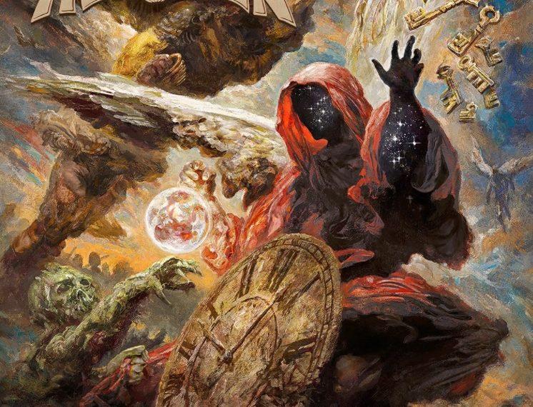 """Das Albumcover """"Helloween"""" von Helloween ist ein Gemälde, auf dem man eine Uhr, Schlüssel und verschiedene Kreaturen sieht."""