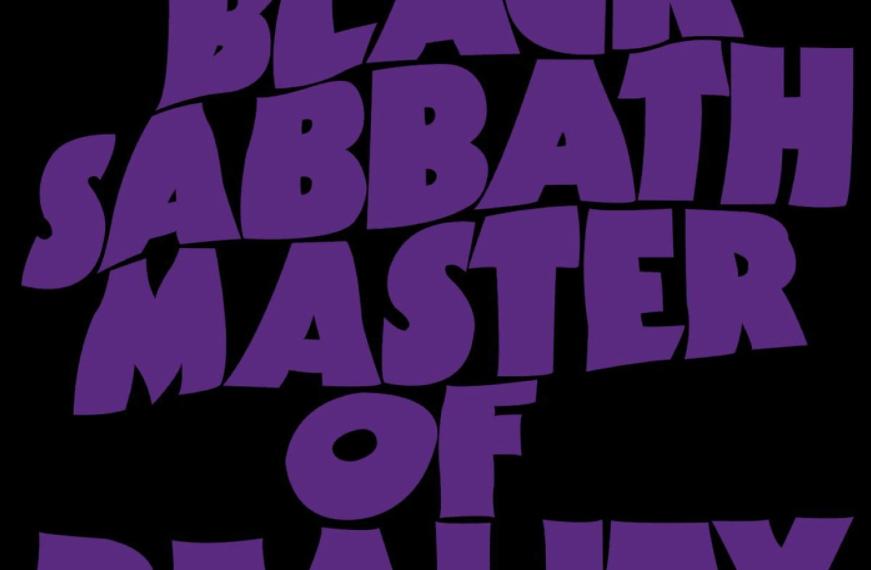 """Das Albumcover """"Master Of Reality"""" von Black Sabbath ist schwarz. In violetter Schrift steht dort der Albumname """"Master Of Reality"""" und die Interpreten """"Black Sabbath""""."""