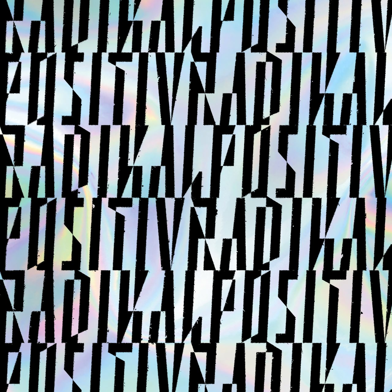 """Das Albumcover """"Radikal Positiv"""" von Querbeat besteht aus vielen schwarzen Buchstaben auf verblassten Regenbogenfarben."""