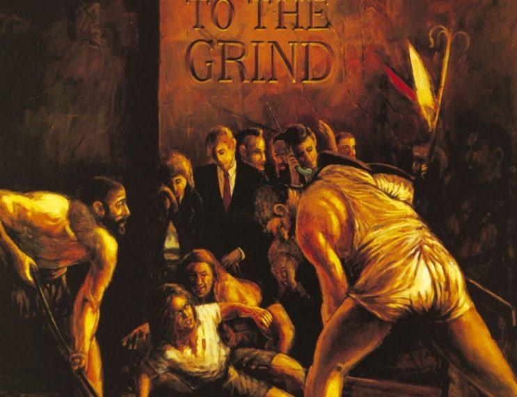 """Das Albumcover """"Slave To The Grind"""" von Skid Row ist ein Gemälde von einer Gruppe Männer, die sich um eine am Boden liegende Person beugen."""