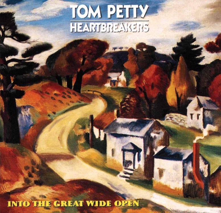 """Das Albumcover """"Into The Great Wide Open"""" von Tom Petty and The Heartbreakers ist ein Gemälde. Es zeigt eine Straße, die durch Wiesen, Häuser und Bäume führt."""