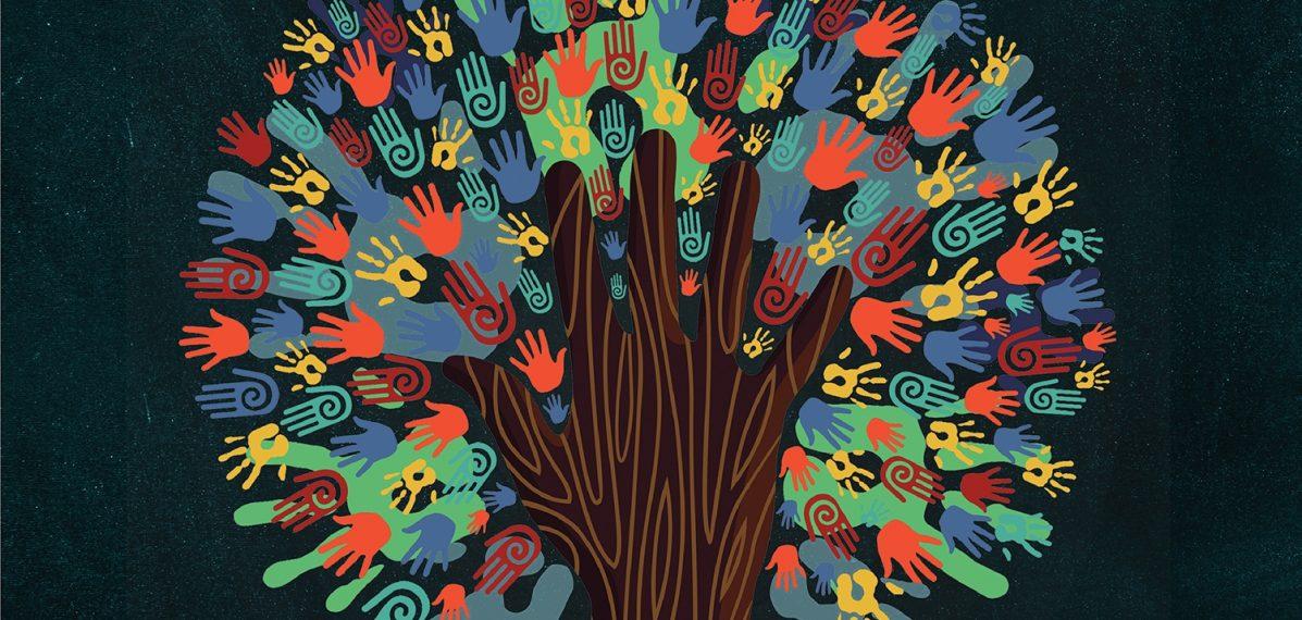 """Der Hintergrund des Albumcovers """"Perfect Union"""" von Kool And The Gang ist dunkel gestaltet. Im Vordergrund ist ein Baum aus Handabdrücken zu sehen. Sie sind in den verschiedensten Farben gehalten."""