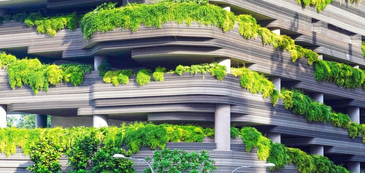 Ein Parkaus, an dessen Wände Pflanzen sprießen